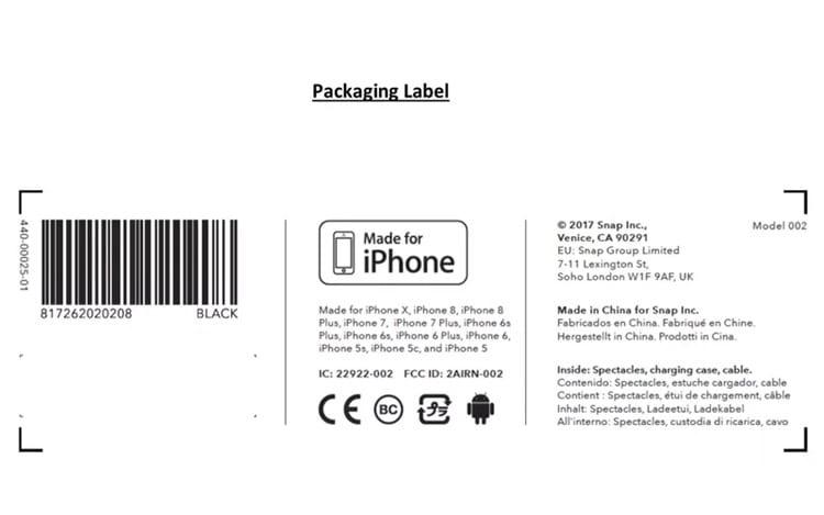 Rótulo de embalagem que foi descoberto nos documentos da FCC, mostra o Modelo 002. (Imagem: FCC)
