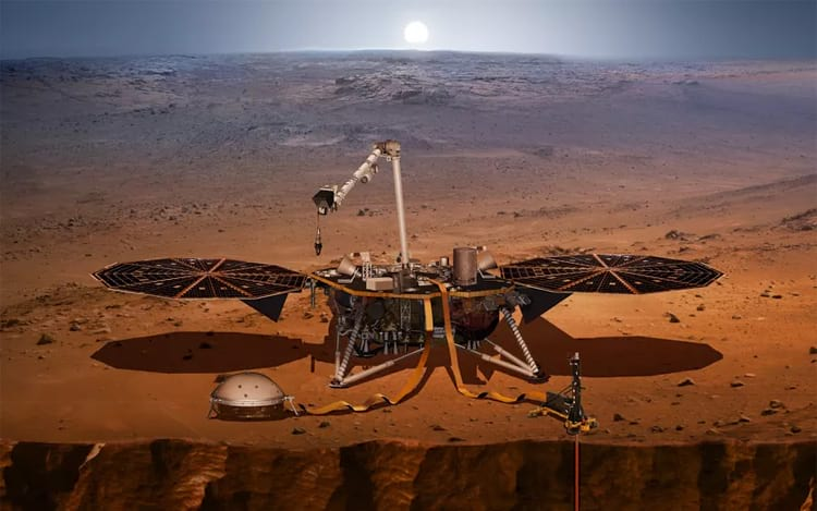 Renderização do lander InSight em Marte. (Imagem: NASA)