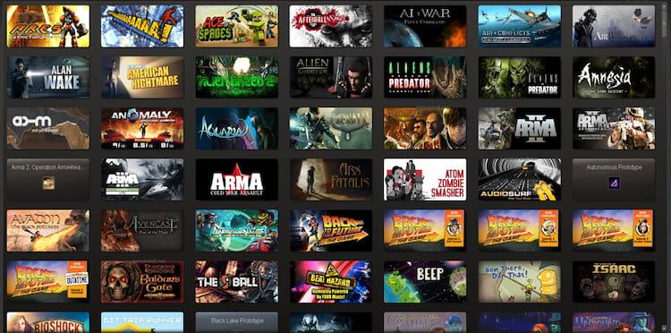 Biblioteca de jogos do Steam. (Imagem: Reprodução/GameLuster)