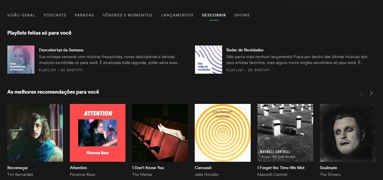Descobertas da Semana e Radar de Novidades são duas playlists feitas especialmente a partir do gosto do usuário.