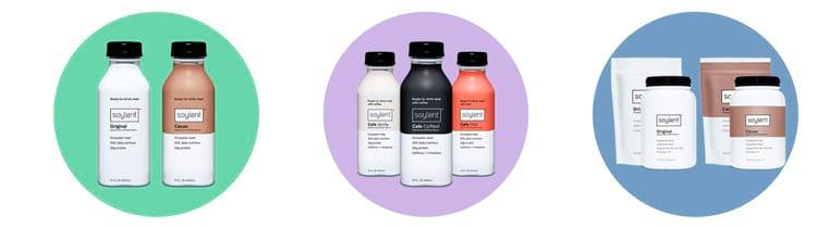 Produtos comercializados hoje pela Soylent: Versão pronta para beber; versão café da manhã; versão em pó