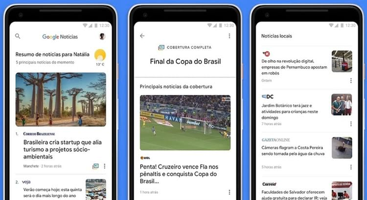 Novo visual do Google News.