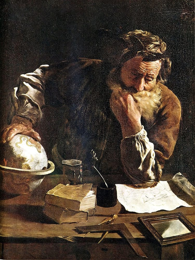 Arquimedes representado por Domenico Fetti com a mão sobre a Esfera de Arquimedes