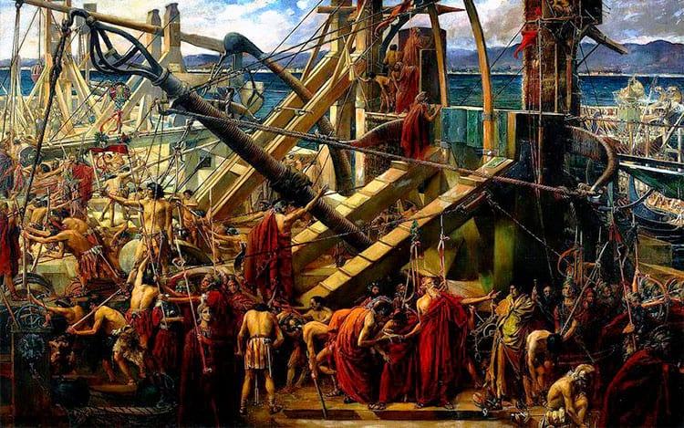 Arquimedes representado coordenando as defesas de Siracusa