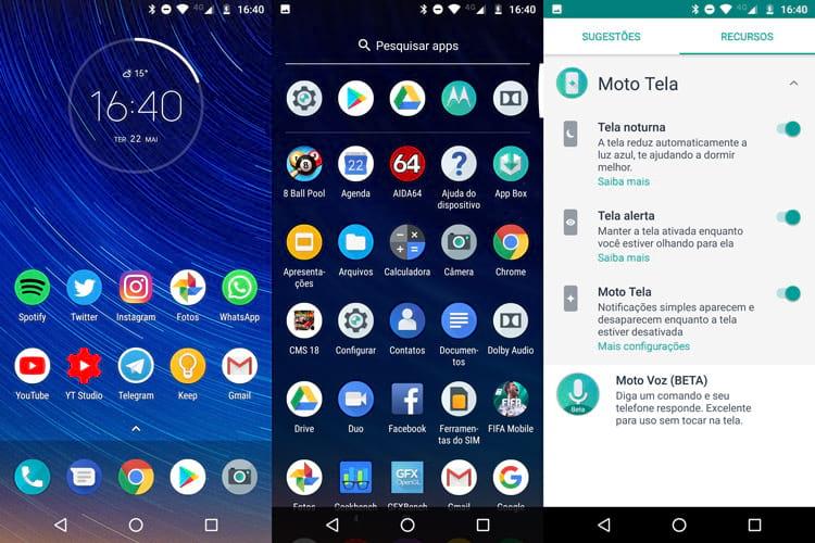 Telas do Android Oreo no Moto G6 Plus