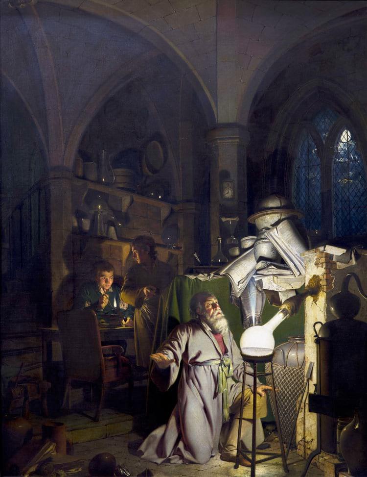 Pintura de Joseph Wright em 1771 mostra um alquimista em busca da pedra filosofal