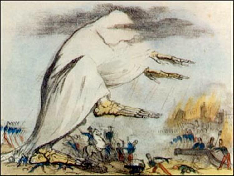 Ilustração do século XIX representa a epidemia de cólera se espalhando na forma de um ar