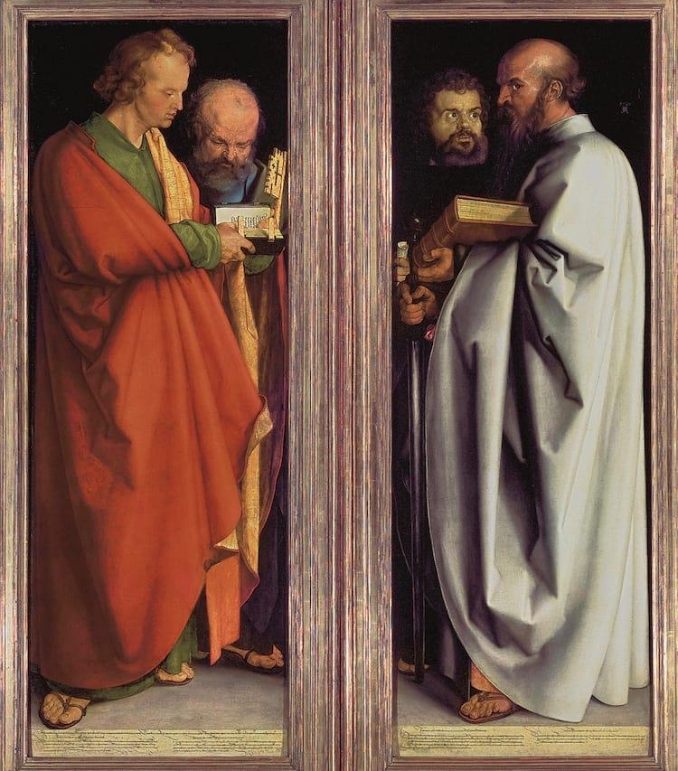 Albrecht Dürer representou os humores na obra Quatro Apóstolos: São João (temperamento melancólico), São Pedro (sanguíneo), São Marcos (fleumático) e São Paulo (colérico)