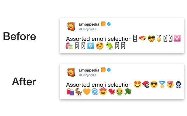 """""""Antes"""" e """"Depois"""" com a seleção de emojis do Twitter. (Imagem: Emojipedia)"""
