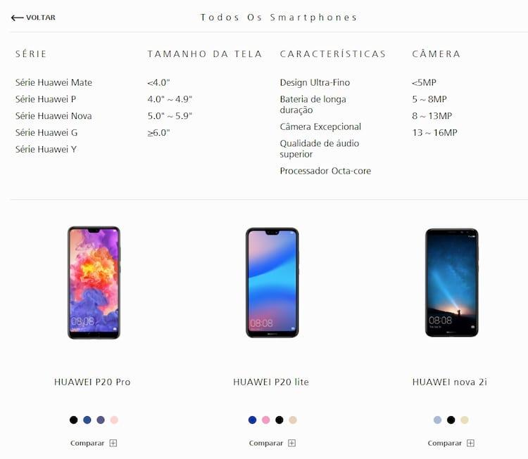 Os três modelos listados no site da Huawei.