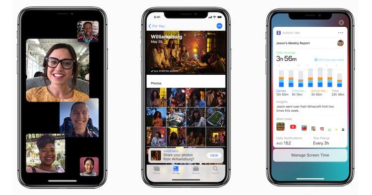 Da esquerda para a direita: Facetime em grupo; compartilhamento de álbuns e relatório de uso do smartphone