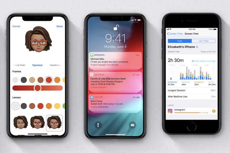 Da esquerda para à direita: Memoji;  e gráfico de uso do smartphone