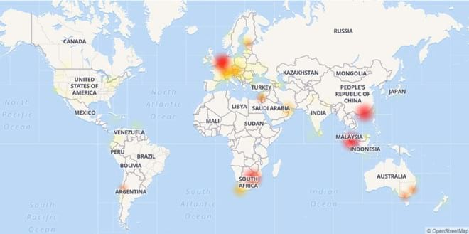 Site Down especificou os locais que registraram instabilidade do WhatsApp nesta terça-feira.
