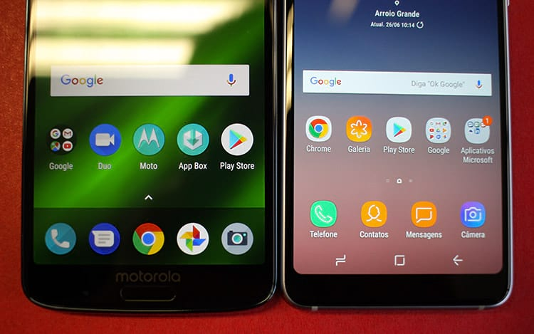 Comparativo entre Galaxy A8 e Moto G6 Plus