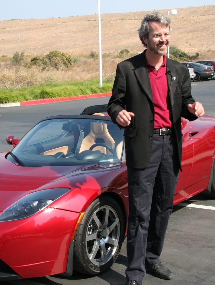 Eberhard, enquanto ainda era CEO, participa de um evento com o Roadster, em 2006