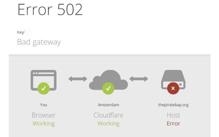 Página que aparece quando o site é acessado informa um gateway inválido.