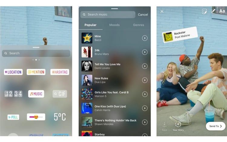 Novo adesivo tem recurso de adicionar música aos Stories. (Imagem: Divulgação/Instagram)