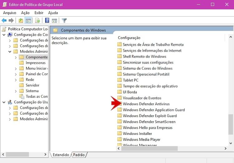 Editor de política local do Windows