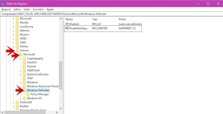 Policies > Microsoft > Windows Defender