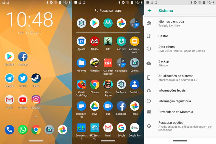 Telas do sistema do Moto Z3 Play - Android Oreo 8.1