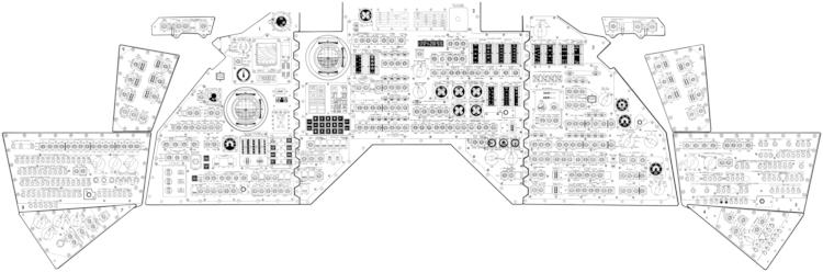 O console do comando da missão Apollo II na configuração do Apollo 13