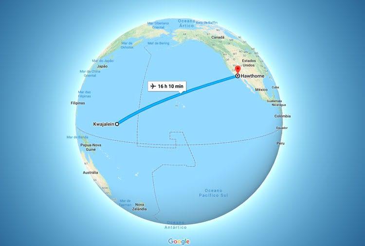 Mais de 7700 quilômetros separavam a fábrica do local de lançamento