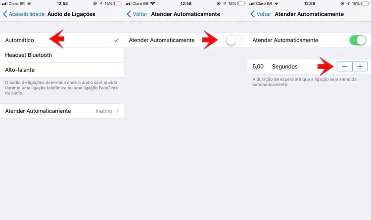 Configuração para atender chamadas automaticamente no iPhone com iOS 11