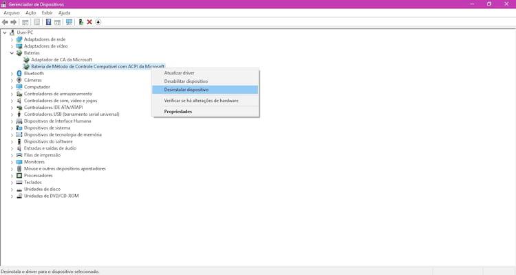 Desinstale a bateria de método de controle compatível com ACPI da Microsoft