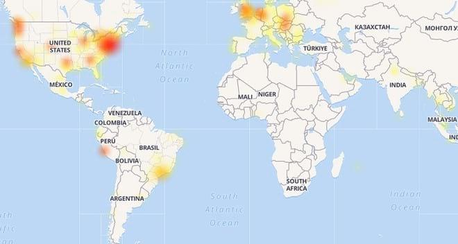 Mapa mostra locais que registraram instabilidade no Facebook. Ao que tudo indica, problema já foi sanado.