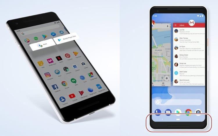 Ações diretas em atalho na tela inicial (à esquerda) | Navegação mais fluída e com menos botões (à direita)