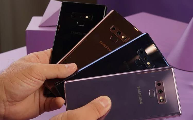 Galaxy Note 9 tem opções de cores em preto, azul, lavanda (rosa) e cobre (marrom)