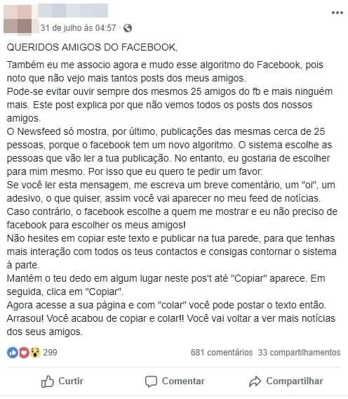 Texto que fala sobre alteração de exibição de publicações no Facebook é falso.