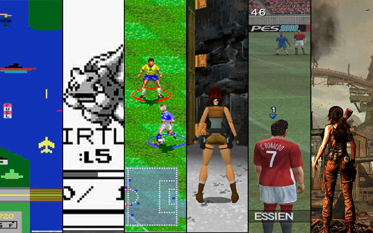 Da esquerda para a direita^: Atari; Game Boy; Super Nintendo; Playstation 1; Playstation 2; Playstation 4