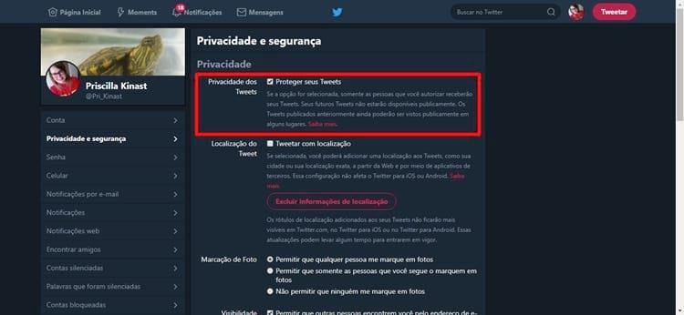 Proteger meus tweets