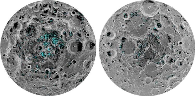 NASA diz que Lua possui dois depósitos de gelo.