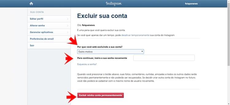 Excluindo a conta no Instagram