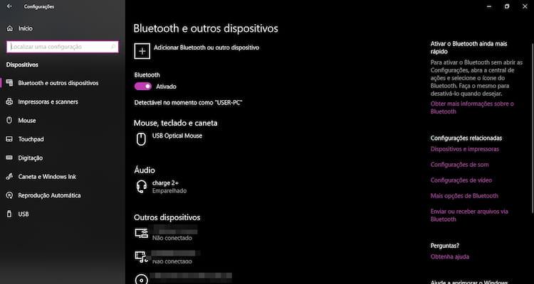 Como ligar e usar o Bluetooth no Windows 10?