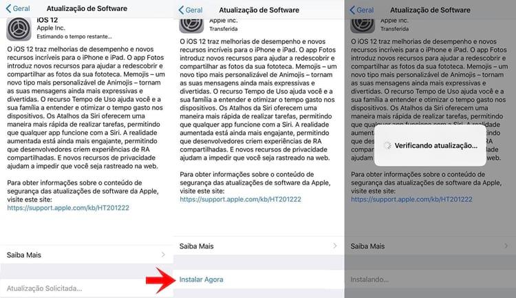 Atualização iOS 12