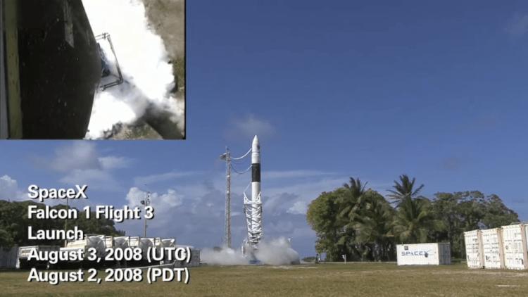 Lançamento número 3 do Falcon 1. O vídeo pode ser visto aqui