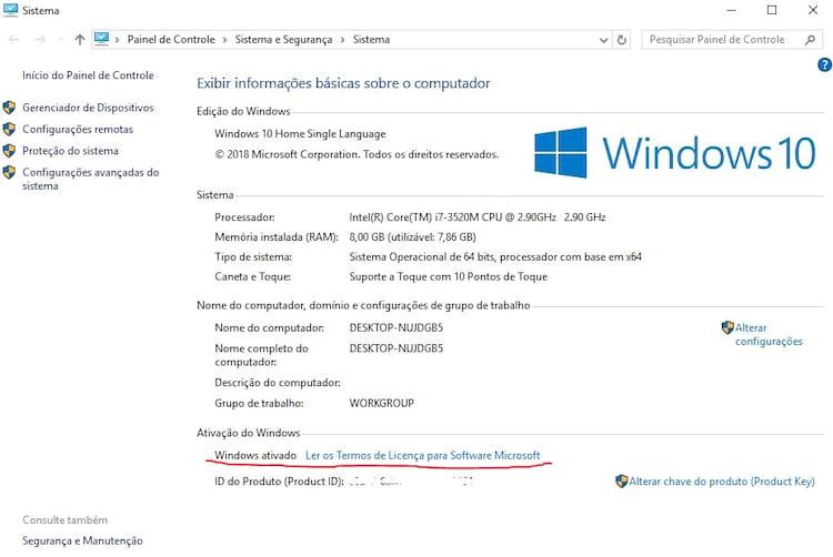 Verificação do Windows 10 ativo