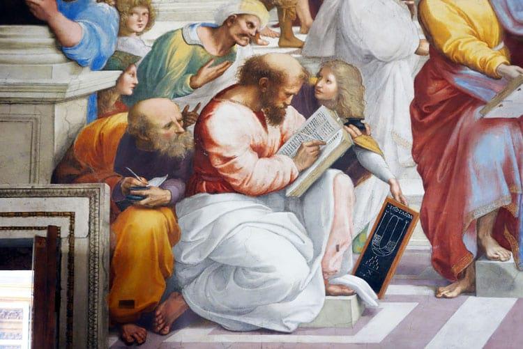 Pitágoras, matemático grego considerado como o maior matemático de todos os tempos, representado nA Escola de Atenas
