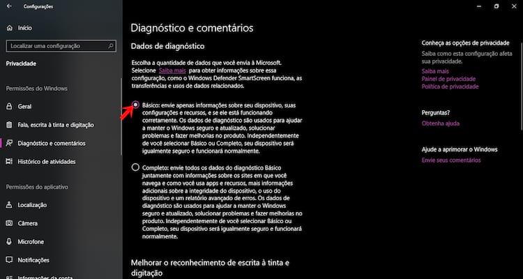 Limite a coleta de dados do Windows.