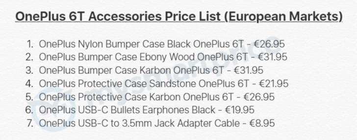 Acessórios e preços