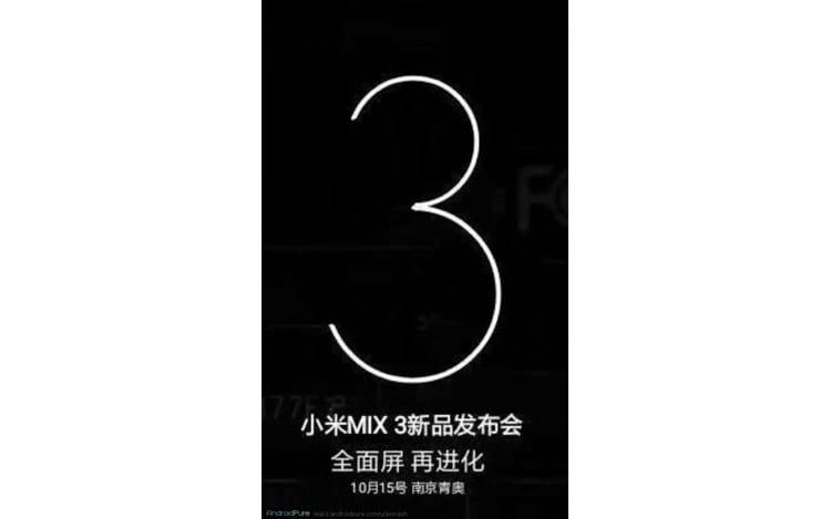 Teaser revela data 15 de outubro para lançamento do Mi Mix 3