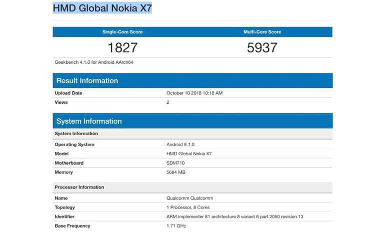 Nokia 7.1 Plus aparece no Geekbench