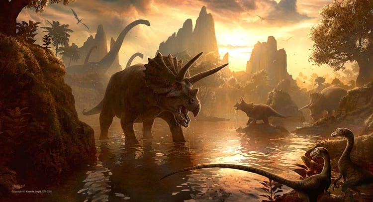 No Cretáceo vivam dinossauros como o Triceratops e o Tiranossauro Rex