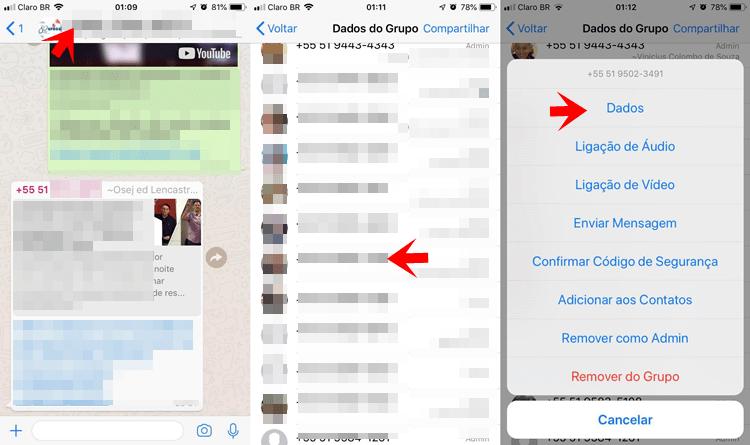 """Clique no contato que deseja denunciar, e escolha a opção """"Dados""""."""