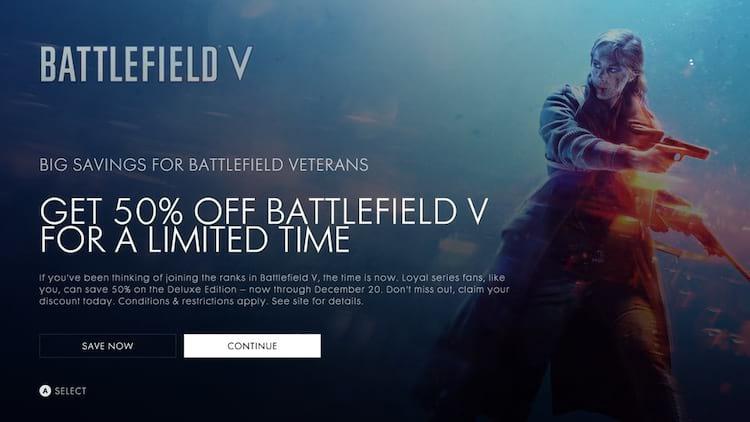 Battlefield V chega com desconto de 50% para jogadores veteranos