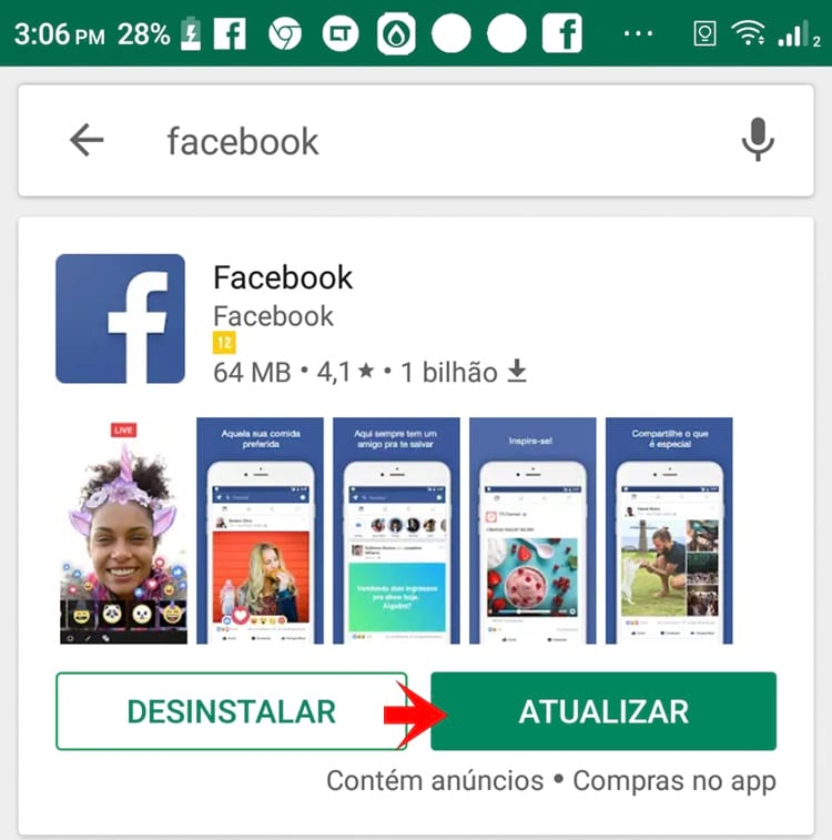 Atualizar o Facebook