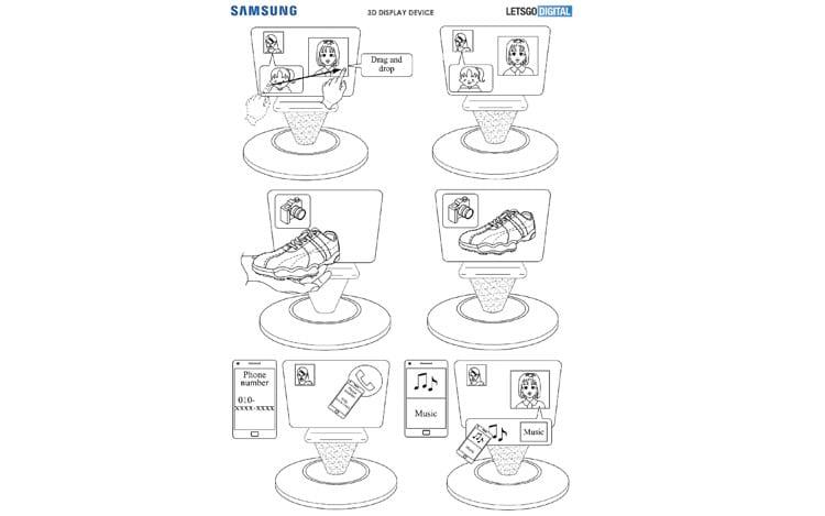 Patente registrada pela Samsung para dispositivo com exibição em 3D.